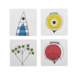 4 st coasters /glasunderlägg picknick - Marianne Westman nytt från glasprinsen