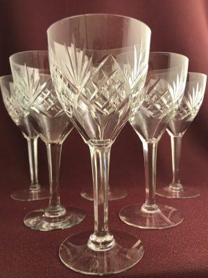 Orrefors  –  Helga – 6 st Rödvinsglas slipadfot design Fritz Kallenberg