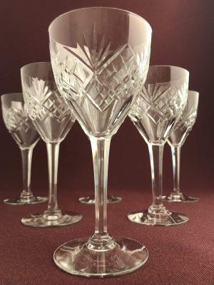 Orrefors  –  Helga – 6 st Rödvinsglas slipadfot – design Fritz Kallenberg