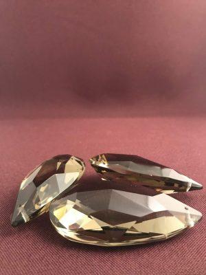 Kristall - Prismor 3 st - rökfärgade - antik reservdelar design