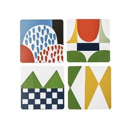 4 st coasters /glasunderlägg . bows - Josef frank nytt från glasprinsen