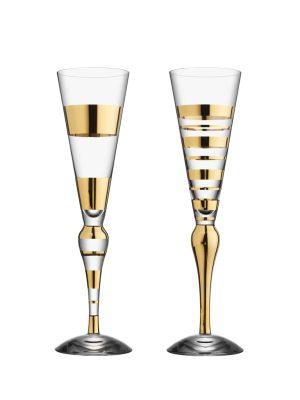 Orrefors - Clown Gold 2 st - Champagneglas - Anne Nilsson Nytt från glasprinsen