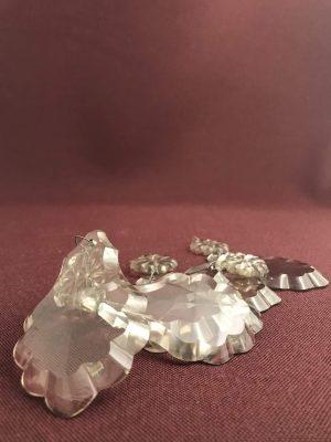 Kristall - Prismor 5 st - Eklövs modell med knopp - antik reservdelar design