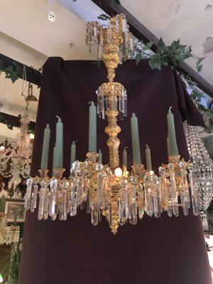 Lampa - kristall krona - 12 ljushållare 4 ljuskällor el - 1860 tal