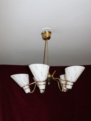 Lampa-Taklampa- 5 ljusarmar, 50 talet - retro