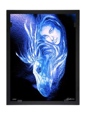 Glasvision - Tavla - Konstglas - Kvinna med häst Designer Astrid Gate
