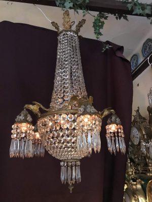 Lampa - kristall krona - 5 armad med örnar Tidigt 1900 tal