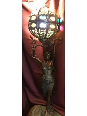 Lampa - Bordslampa - Jugendstil - Kvinna med planet