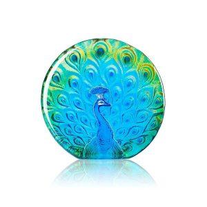 Målerås - Peacock - kristallblock - Blå grön design Ludvig Löfgren