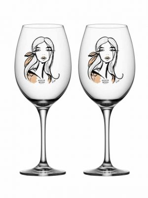 Kosta Boda - 2st Vin glas - ALL ABOUT YOU - WAIT FOR HER Design Sara Woodrow
