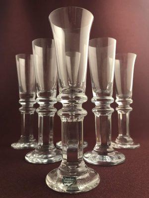 Orrefors / Strömbergs hyttan - Herrgård 6 st Snaps glas design Gunnar Cyren