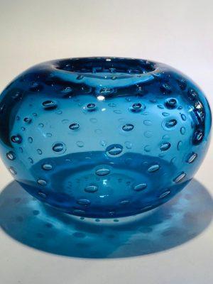 Ulven - Bubbels - Kristall Skål - Aqua marin Design Mikael Erlandsson