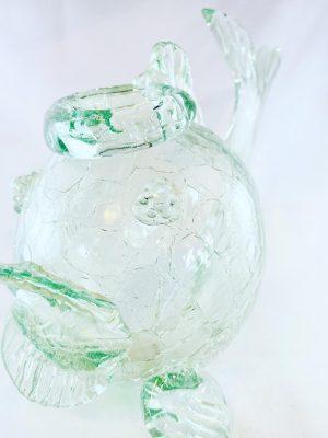 Stockholms Glasbruk Skansen - Blomster Fisk - 40 - tal Handgjord på Skansen