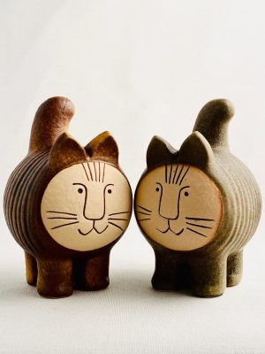Gustavsberg - 2 st Museum katten grå & Brun design Lisa Larson