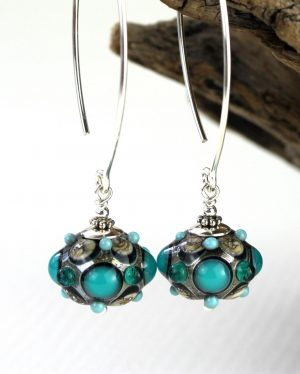 Glasprinsen - Halsband - - Blå design Marianne Degener
