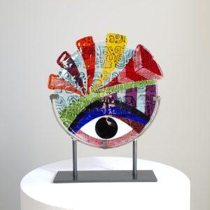 Art By Anne Naïve - Konstglas Aztek / Maya - Unikat design Anne Felicie Nickels