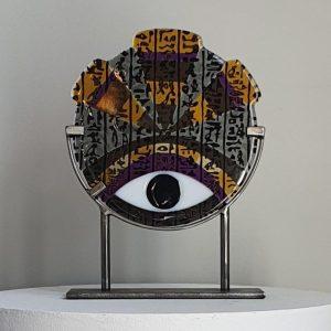 Art By Anne Naïve - Konstglas RA Hieroglyf - Unikat design Anne Felicie Nickels