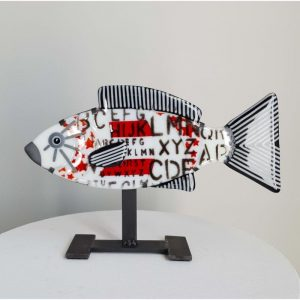 Art By Anne - Fisk Konstglas - Kindai showa - Unikat design Anne Felicie Nickels