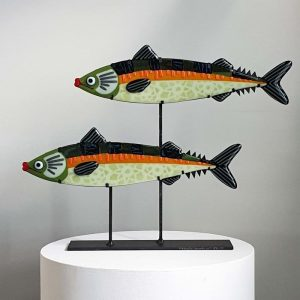 Art By Anne - Fisk Konstglas Makrell duoarte, shoal - Anne Felicie Nickels
