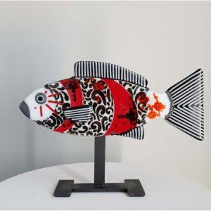 Art By Anne - Fisk Konstglas - Showa Koi - Unikat design Anne Felicie Nickels