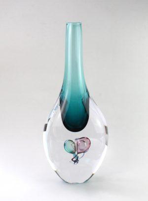 Living Glass - Bubbles - Konst Vas - Havsgrön design Marianne Degener