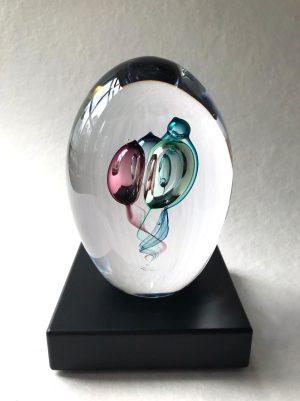Living Glass -Floating Bubbles - Konstglas Unikat design Marianne Degener