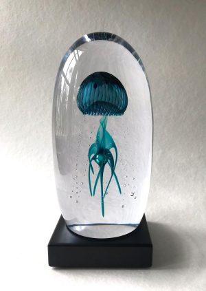 Living Glass - Manet - Havsgrön Konstglas Unikat design Marianne Degener