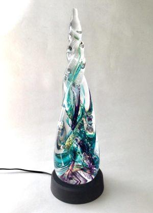 Living Glass - - Konstglas Twisted Ljus Havsgrön /lila design Marianne Degener