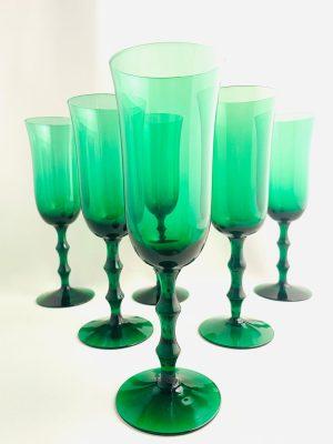 Orrefors - Salut - 6 st Champagneglas grön design Simon Gate