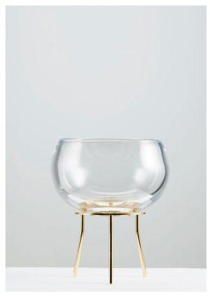 Glasprinsen - Glas Skål mässing platta med stativ Unikat Design Matilda Kästel