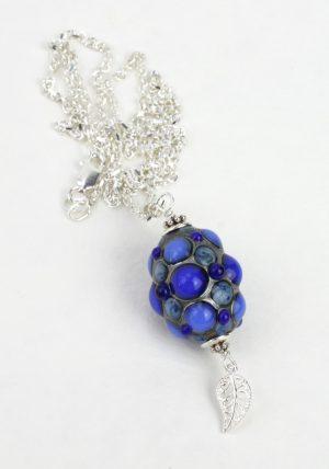 Living Glass - Halsband- Unik Sterling Silver / Blå design Marianne Degener