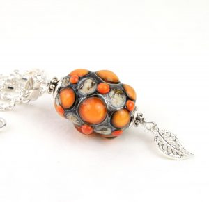Living Glass - Halsband- Unik Sterling Silver / Orange design Marianne Degener