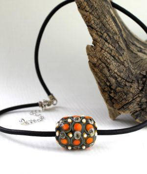 Living Glass - Halsband - Big Bead Unik Silver / Orange design Marianne Degener
