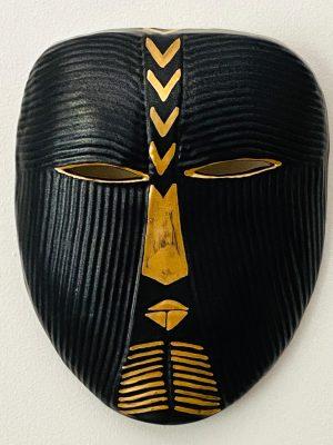 Gustavsberg - Mask- Mytologisk mask Guld / Svart design Lisa Larson