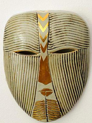 Gustavsberg - Mask- Mytologisk mask Guld / Grön design Lisa Larson