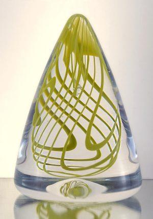 1100 Grader - Konstglas - Swirling Pyramid - unikat design Malin Tehagen