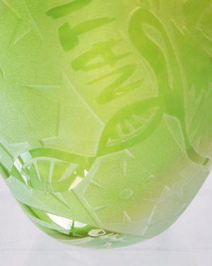 Konstglas Unikat - Shades of green - grön / Guld Vitdesign Betina Huber