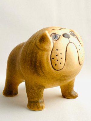 Gustavsberg- Figurin - Kennel - bulldogg brun Midi design Lisa Larson