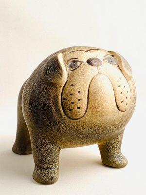 Gustavsberg- Figurin - Kennel - bulldogg Grå Midi design Lisa Larson