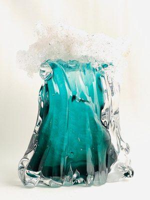 Stockholms Glasbruk Skansen - Konstglas - Tsunami grön Design Martin Ehrensvärd