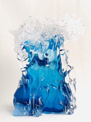 Stockholms Glasbruk Skansen - Konstglas - Tsunami Blå Design Martin Ehrensvärd