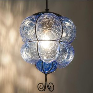 Stockholms Glasbruk Skansen - Lykta / Lampa Blå Handgjord på Skansen