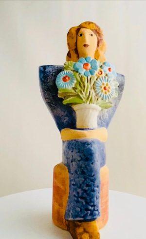 Gustavsberg Kvinna med blommor design Lisa Larson