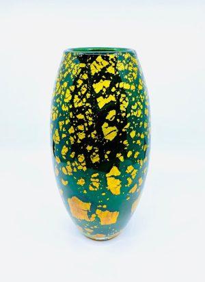 Gyllene Tider - Konstglas Vas - Adventurin grön Unik design Robert Oldergaarden