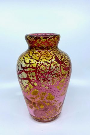 Gyllene Tider - Konstglas Vas - Guldrubin Unik design Robert Oldergaarden