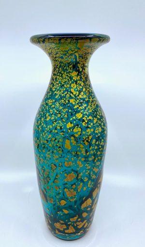 Gyllene Tider - Konstglas Hög Vas smaragdgrön Unik design Robert Oldergaarden